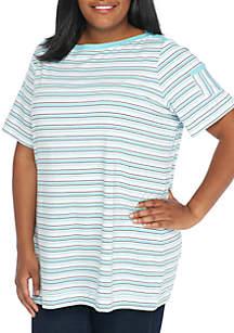 Plus Size Boat Neck Pocket Sleeve Stripe Top