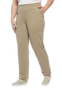 Plus Size Short Straight Solid Pants