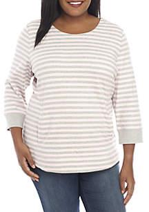 Plus Size Three-Quarter Sleeve Top