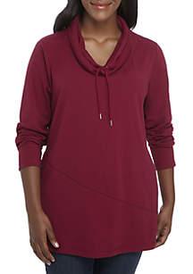 Plus Size Long Sleeve Cowl Neck Tunic