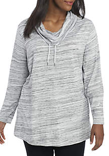 Plus Size Long Sleeve Space Dye Cowl Neck Tunic