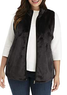 Plus SIze Solid Fleece Vest