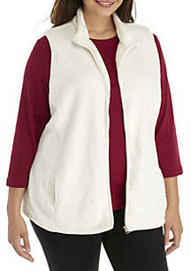 Plus SIze Solid Fleece Vest