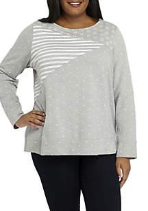 Plus Size Long Sleeve Crew Neck Printed Sweatshirt