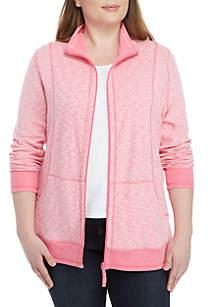 Kim Rogers® Plus Size Double Knit Sold Zip Jacket