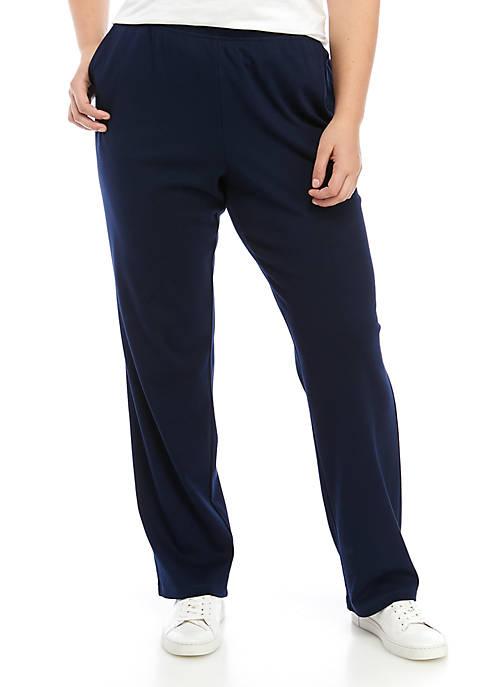 Plus Size Interlock Straight Average Pants