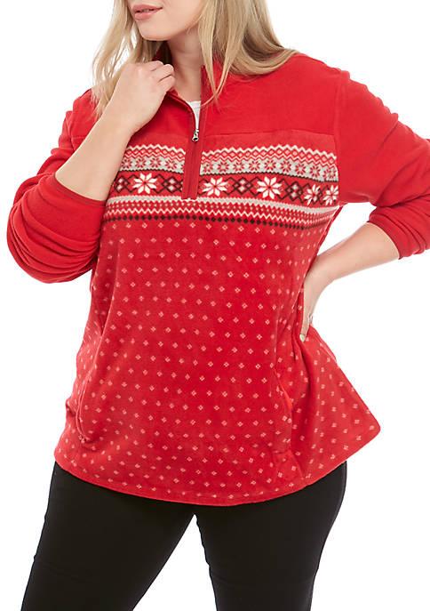 Kim Rogers® Plus Size Half Zip Fleece Jacket