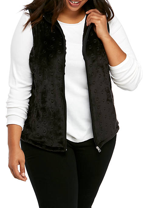 Plus Size Embroidered Solid Vest