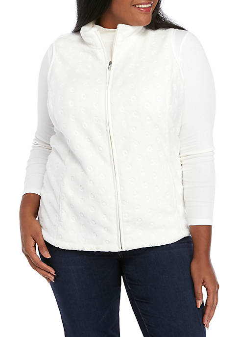 Kim Rogers® Plus Size Embroidered Solid Vest