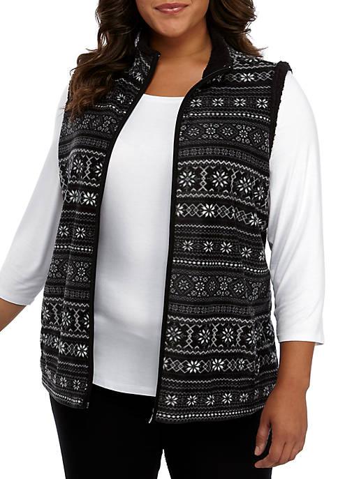 Kim Rogers® Plus Size Sherpa Lined Vest