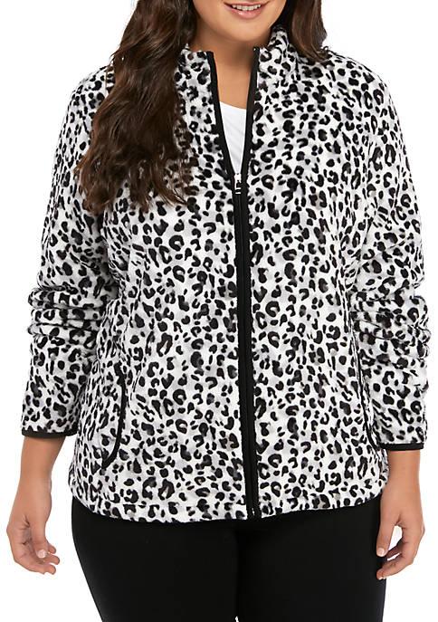 Kim Rogers® Plus Size Bunny Fleece Printed Jacket