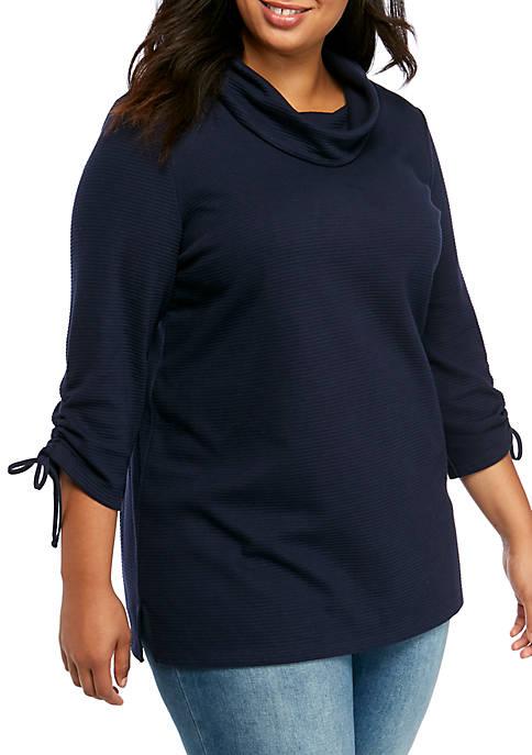 Plus Size Textured Cowl Neck Top