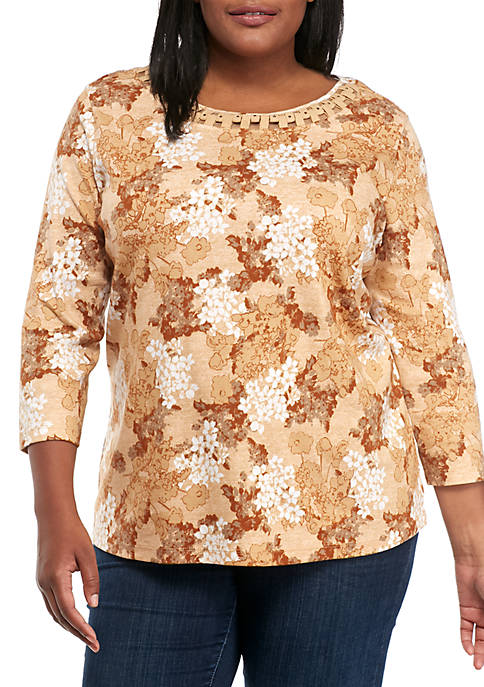 Kim Rogers® Plus Size Braided Neck Floral Print