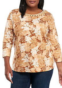 Plus Size Braided Neck Floral Print Top
