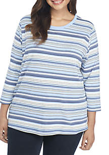 Plus Size 3/4 Sleeve Crew Neck Stripe Top