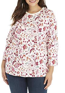 Plus Size 3/4 Sleeve Floral Print Shirt