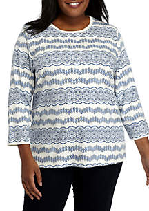 Plus Size Three-Quarter Sleeve Chain Printed Top