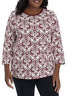 Plus Size Three-Quarter Sleeve Brocade Print Top