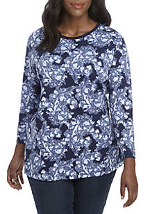 Plus Size 3/4 Sleeve Paisley Print Top