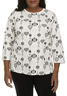 Plus Size 3/4 Sleeve Ornament Print Top
