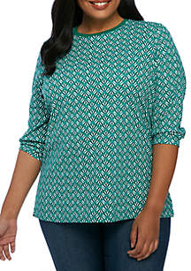 Plus Size 3/4 Crew Neck Fan Geo Print Top