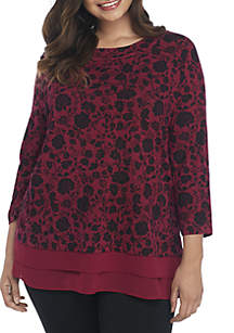 Plus Size Layer Floral Print Top