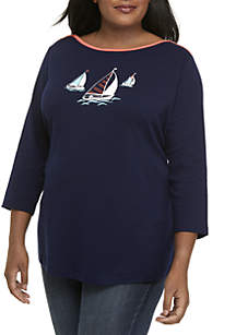 Plus Size 3/4 Boat Neck Graphic Top