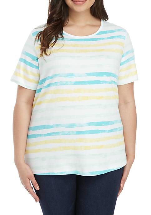 Kim Rogers® Plus Size Stripe Print Short Sleeve