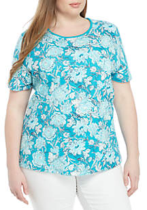 Kim Rogers® Plus Size Floral Print Top