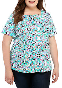 Kim Rogers® Plus Size Short Sleeve Square Neck Abstract Print Top