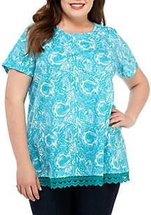 Kim Rogers® Plus Size Lace Hem Printed Tunic Top
