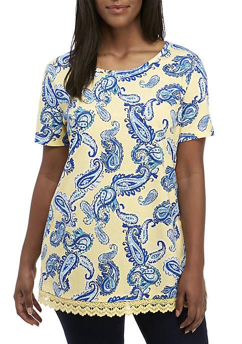 Kim Rogers® Plus Size Short Sleeve Lace Hem