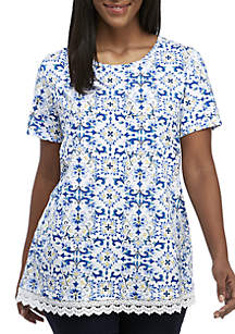 33e7a59b67f ... Kim Rogers® Plus Size Short Sleeve Lace Hem Print Tunic Top