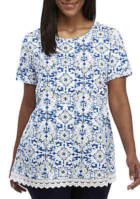 7d8e924915c46 Kim Rogers® Plus Size Short Sleeve Lace Hem Print Tunic Top ...