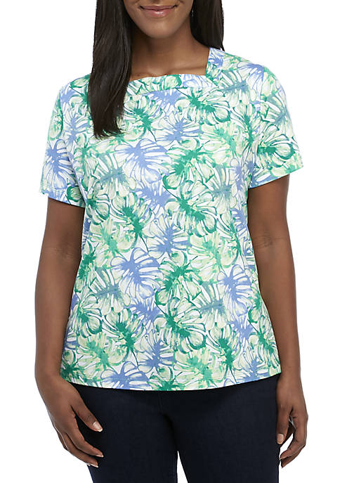 Kim Rogers® Plus Size Short Sleeve Square Neck