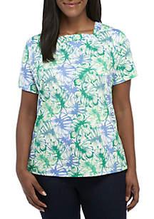 Kim Rogers® Plus Size Short Sleeve Square Neck Print Top