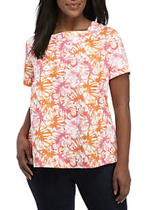 04a2ce8f49f ... Kim Rogers® Plus Size Short Sleeve Square Neck Print Top