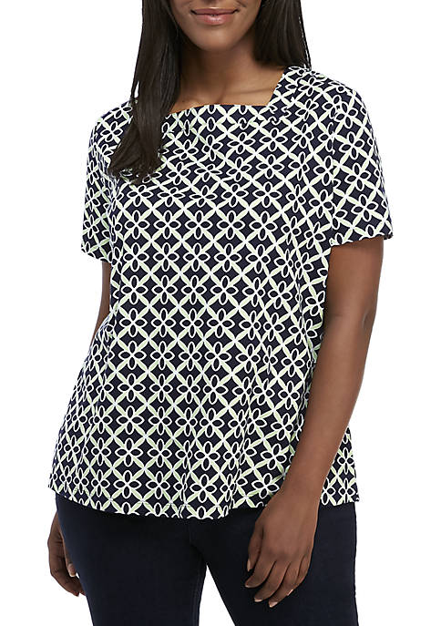 Plus Size Short Sleeve Square Neck Print Top
