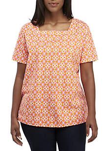283c66422d35e ... Pants · Kim Rogers® Plus Size Short Sleeve Square Neck Print Top