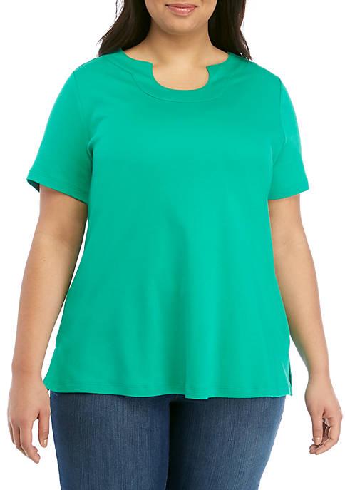 Plus Size Short Sleeve Solid Horseshoe Neck Top