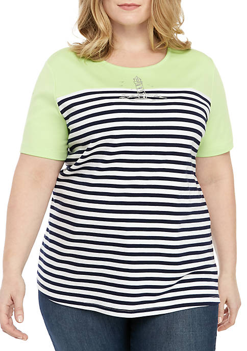 Kim Rogers® Plus Size Short Sleeve Color Block