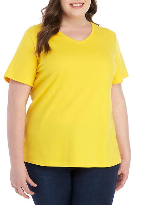 Kim Rogers® Plus Size Short Sleeve V Neck