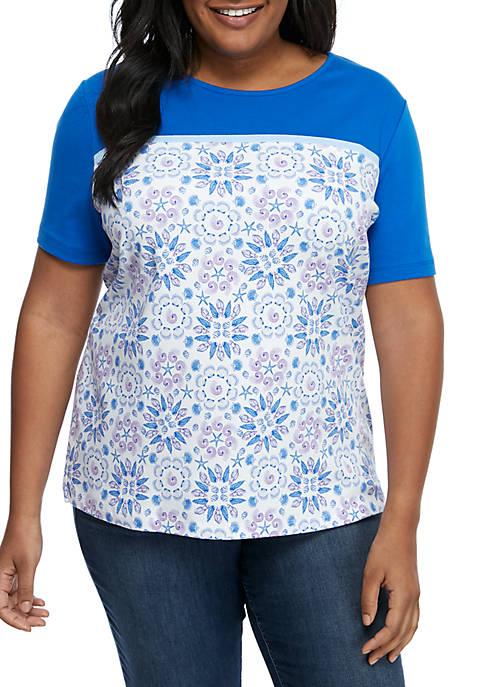 Kim Rogers® Plus Size Short Sleeve Crew Neck
