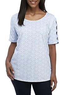 Kim Rogers® Plus Size Twist Ladder Sleeve Print Top