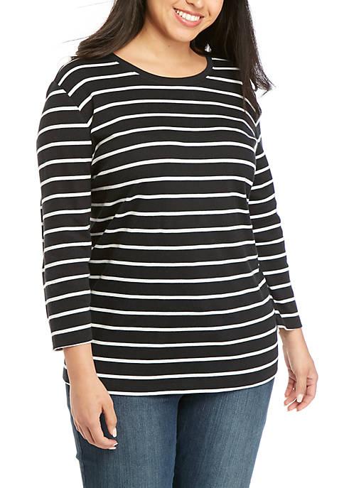 Plus Size 3/4 Sleeve Crew Neck T-Shirt