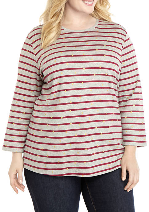 Plus Size Foil Stripe Shirt
