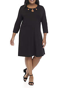Plus Size Three-Quarter Sleeve Detailed Neck Dress