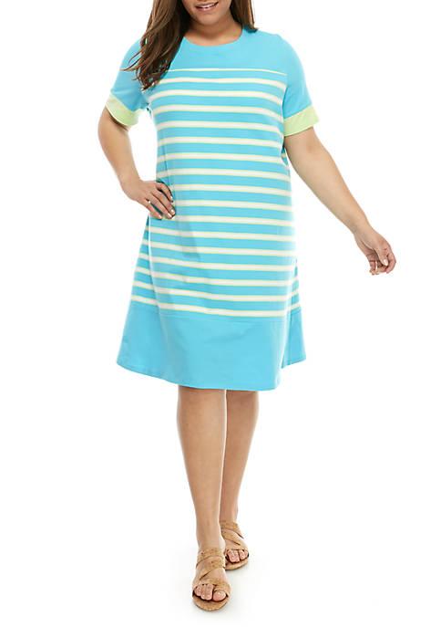 Kim Rogers® Plus Size Short Sleeve Stripe Dress