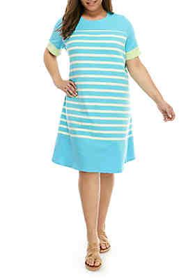 74458af381 Kim Rogers® Plus Size Short Sleeve Stripe Dress ...