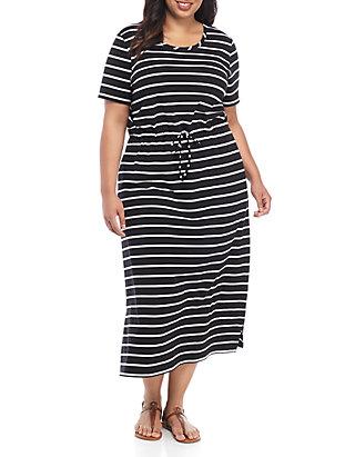 Plus Size Tie Waist Maxi Dress